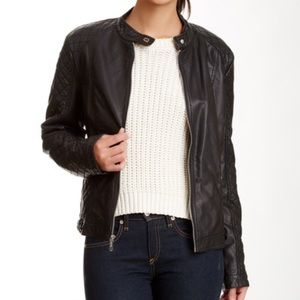 Chic Edgy Kenneth Cole Reaction Moto Bomber Jacket